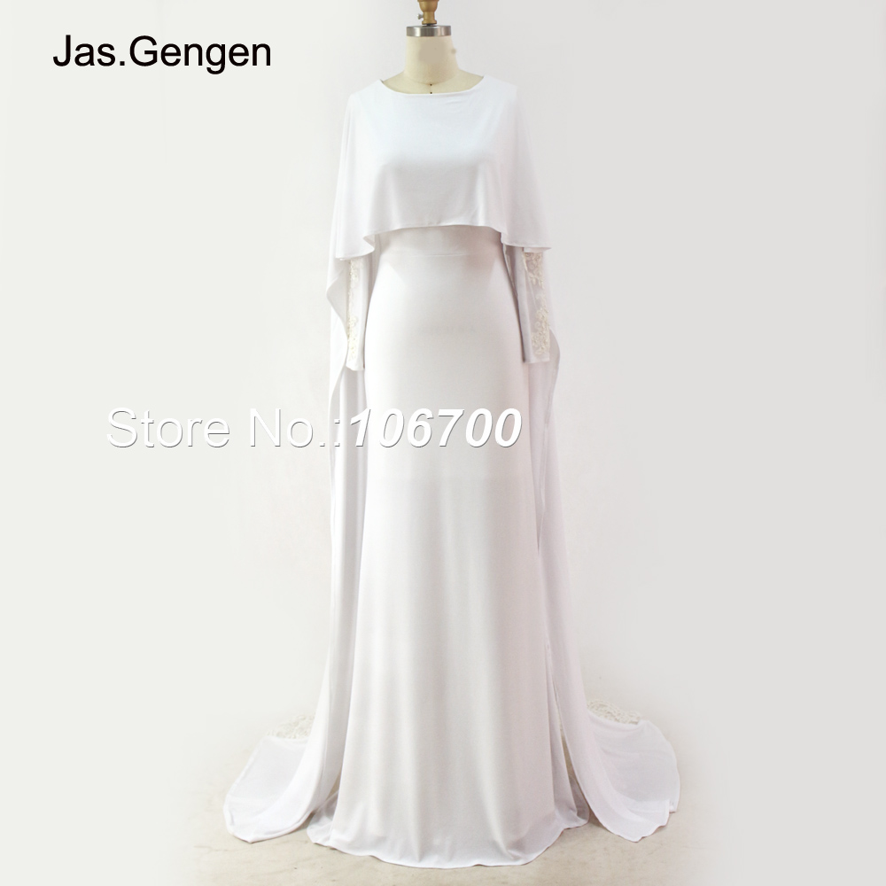 2d7e047b5d6 New Arabic Style Embroidery Lace robe de soiree Evening Dress Caped Long  Sleeve White Color Jersey