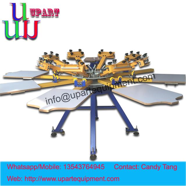 Manual de 4/6/8 rotary camiseta pantalla de prensa de 8 colores máquina de impresión de pantalla de seda