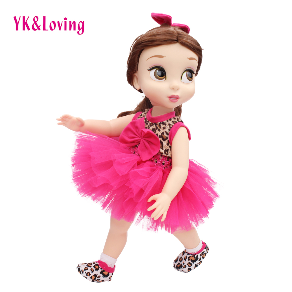 YK&Loving 4Pcs Set For 18 American Girl Doll Clothes/Dress Handmade Leopard Princess Tutu Skirt Baby Birthday Gift High Quality princess dress for 18 inches american girl doll children bjd baby born dolls handmade accessories toy christmas birthday gift