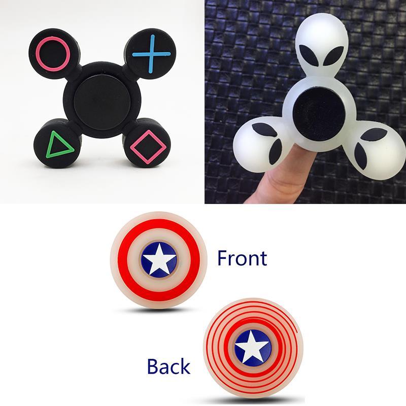 Silicone Fingertip Gyro Fidget Hand Spinner Finger Spinner Toy Spinner Reduce Stress Symbol Captain America Alien ET Children Gi