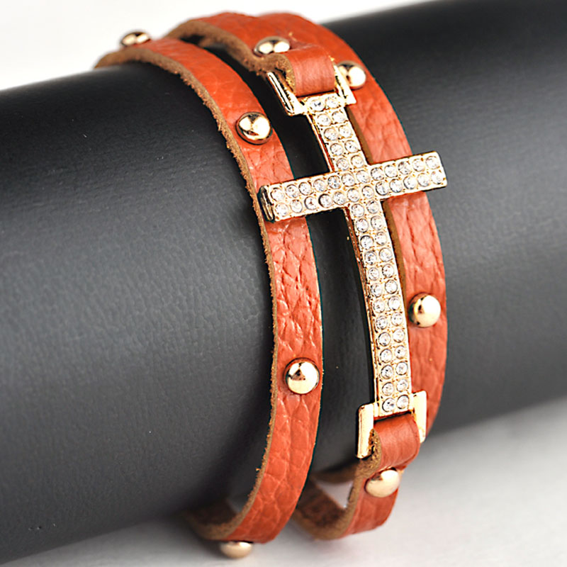 Crystal Micro Pave CZ Disco Cross Charm Double Wrap Real Leather Wrapped Charm Bracelets For Women Gift B1473 4