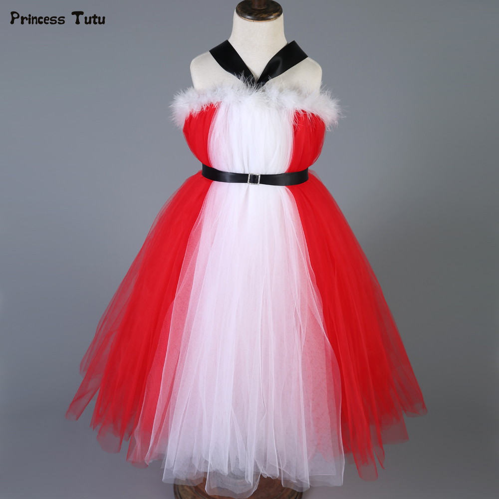 New Year Princess Dress Children Clothing Red with White Baby Girl Christmas Dresses Clothes Kids Xmas Party Tutu Dress Costumes new 38cm genuine leather auto car steering wheel cover soft anti slip car steering cover black braid with needles and thread