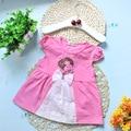 2017 Nuevas Muchachas Del Vestido de Ropa O-cuello de la Flor Del Bebé Ropa de Verano de Algodón de Moda Rosa Punto Blanco Partido de Los Niños Vestidos de Princesa