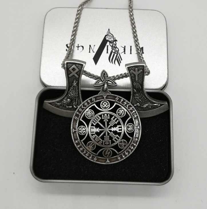 Античное серебро Vegvisir компасы Ворон волк ожерелье с подвеской топориком Руна викингов амулет для мужчин's цепочки и ожерелья