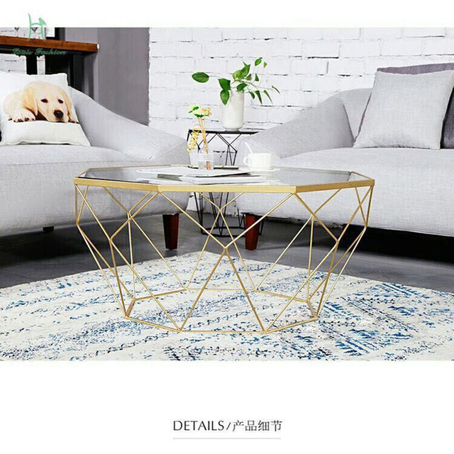 Louis Fashion Tea Table Nordic Furniture Creative Small Family Living Room  Steel Glass Transparent Table Modern