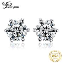 лучшая цена High Quality Natural White Topaz Round Stone Earrings 100% Real Pure 925 Sterling Silver Stud Girl Fabulous Gift Fashion Jewelry