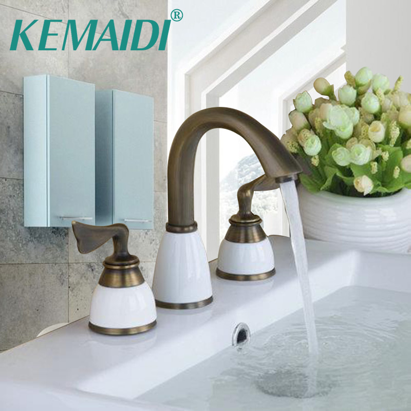 KEMAIDI Basin Sink Faucet Retro Antique Brass 3 Pieces 2 Lever Bathtub Torneira Bathroom Deck Mounted Vessel Vanity Tap Mixer 500ml