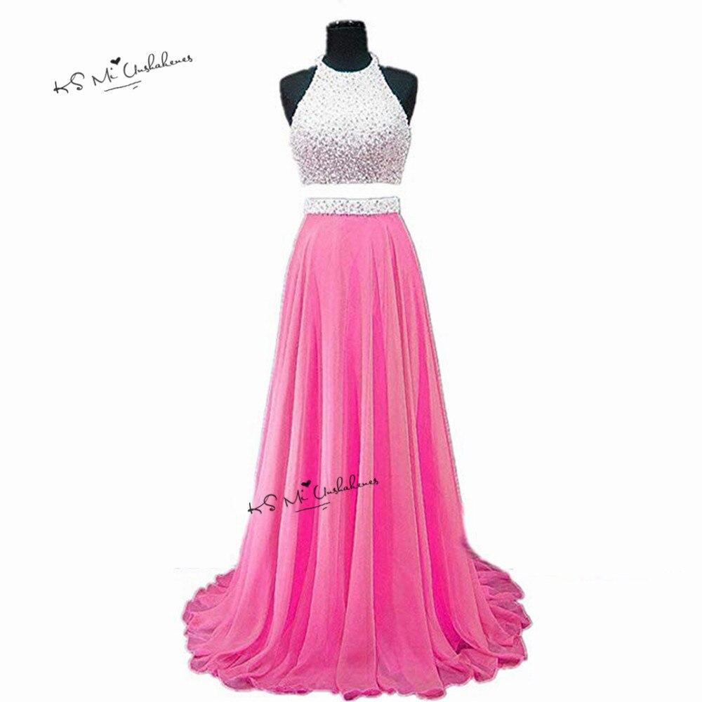 0184693ac10 Fushcia сексуальные платья выпускного вечера из двух частей 2019 Длинные  вечерние платья шифон Жемчуг Vestido de