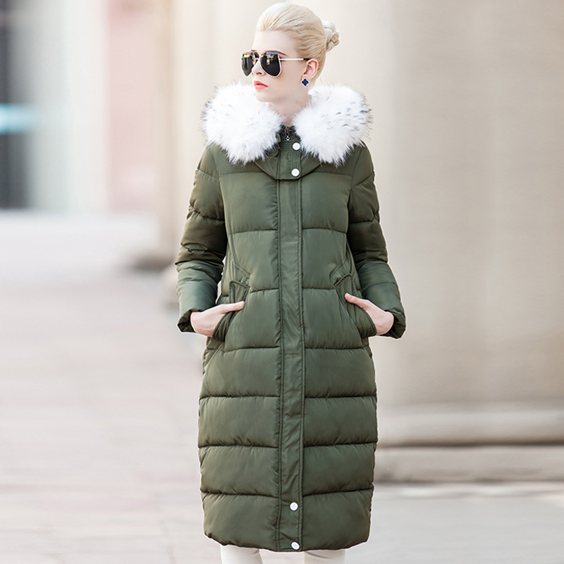 Winter Jacket Women Down Parka 2016 Womens Down Jackets Thick Down Jacket Coat Big Fur Collar Hooded Padded Jacket Female Parkas 2016 new winter down coat jackets women fashion slim hooded fur collar down coat 5 colors parka winter caot jacket cyrf008