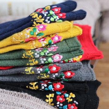 CHAOZHU Bohemia Floral Embroidery Vintage Sweet Women Autumn Winter Warm Fashion Wool Socks Cozy Kawai Japanese Girls Socks embroidery