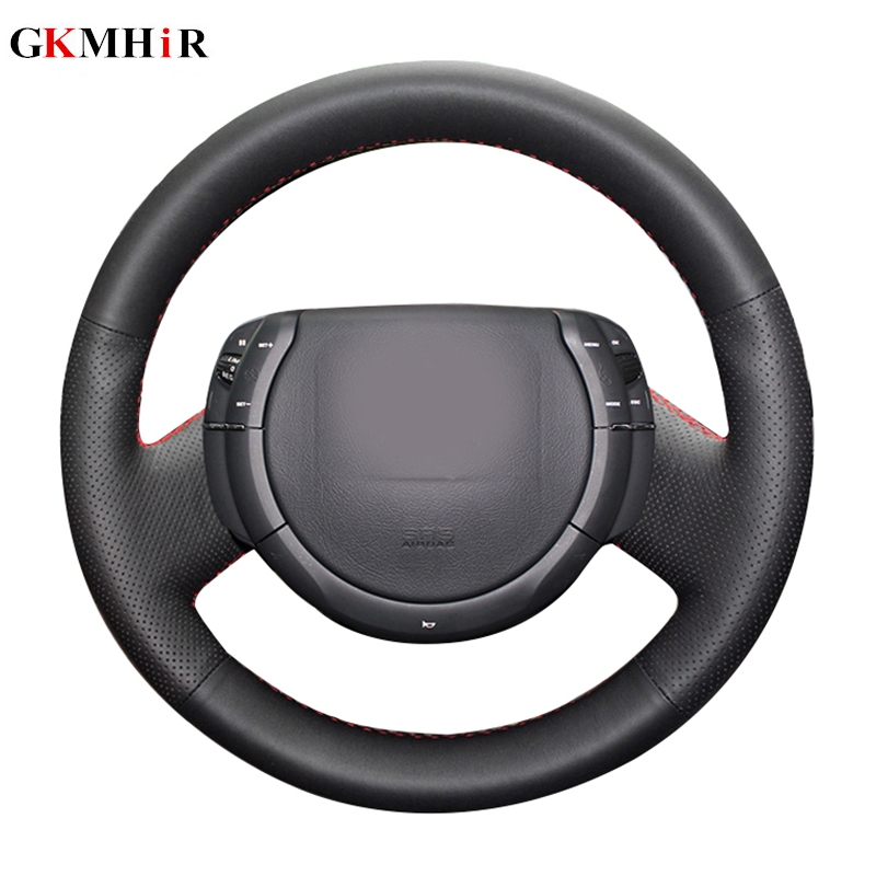 Hand-stitched Black Artificial Leather Steering Cover Black Car Steering Wheel Cover for Citroen Triumph Old C4 C-quatre
