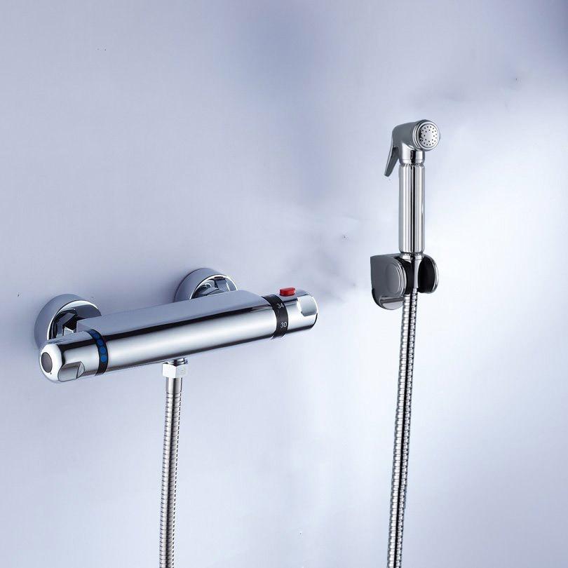 Thermostatic Bidet Kit Wall Thermostatic Bidet Faucet Shattaf Bidet Spayer Shower Gun+1.5 Meter Shower Hose+ABS Shower Holder