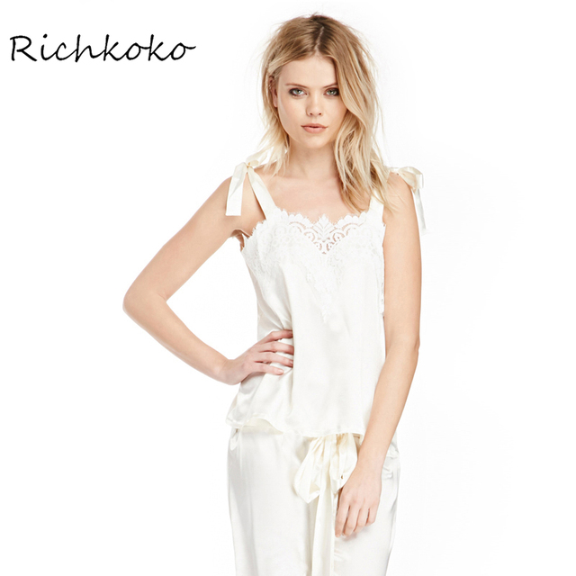 Richkoko New White Women Tank Tops Off Shoulder Lace Trim Spaghetti Strap Vests Women Bowknot Backless Summer Vests Female