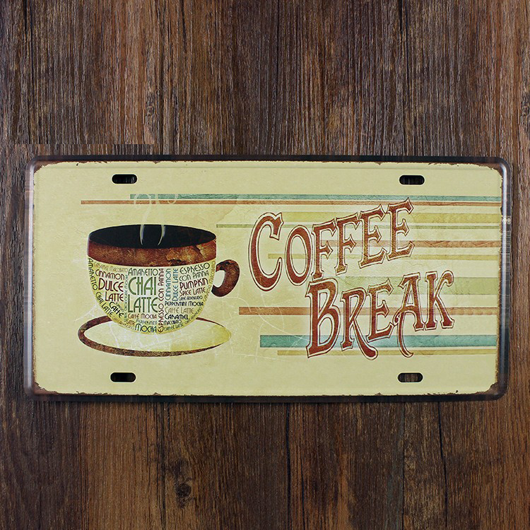 COFFEE BREAK Metal Poster Vintage Wall Decor Hotel Tin Sign Art 15 ...