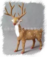 Simulation Sika Deer Model 35x31cm Christmas Deer Toy Polyethylene Furs Resin Handicraft Props Christmas Gift Decoration