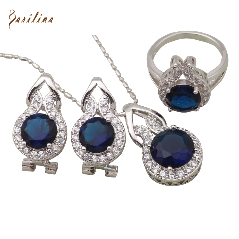 Glitz Glam Blue Diamontrigue Jewelry: Glam Luxe Mysterious Silver Blue Cubic Zirconia Pendant