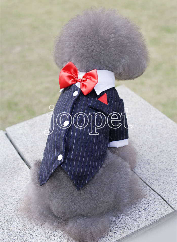 XS M L XL Pet dog wedding dress boy pet dog suit with bow tie clothing for dogs boy dog clothes