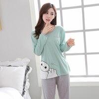 New Pajamas Women Pure Winter Autumn Long Pants Sexy Vest Three Piece Sets100 Cotton Women Pyjamas