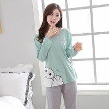 Новая Пижама Женщины Чистый зима-осень длинные Брюки пикантные Досуг два-шт. Комплекты Хлопковые женские пижамы Любители Тонкий пижамы