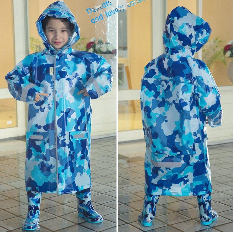 Student Raincoat for Children Camouflage Kids Girls Boy Rainproof Rain Coat Waterproof Poncho Rainwear Rainsuit Raincoat