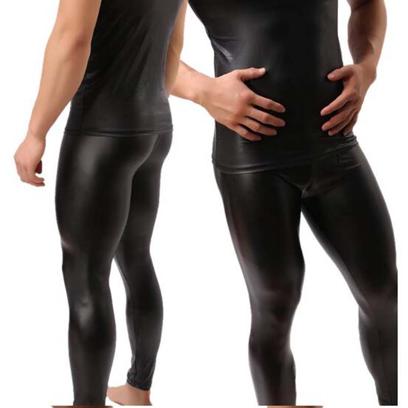 High Quality Mens Black Faux Patent Leather Skinny Pencil Pants PU Stretch Leggings Men Sexy Clubwear Bodywear Trousers