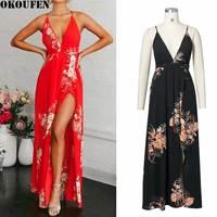 OKOUFEN 2017 Summer Dress High Split Red Black Maxi Dress Women Sexy Deep V Neck Party