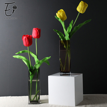 Erxiaobao 5 Pieces/Lot Long Fake Tulips Artificial Flowers Real Touch Pink Purple Green Red PU for Home Wedding Decor