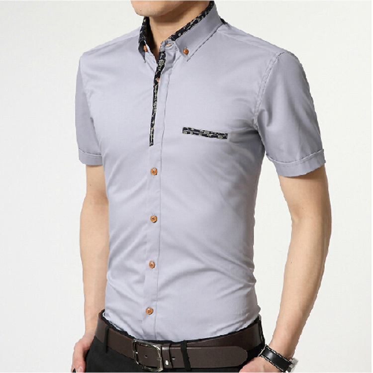 White casual mens shirt custom shirt for Men s fashion short sleeve shirts