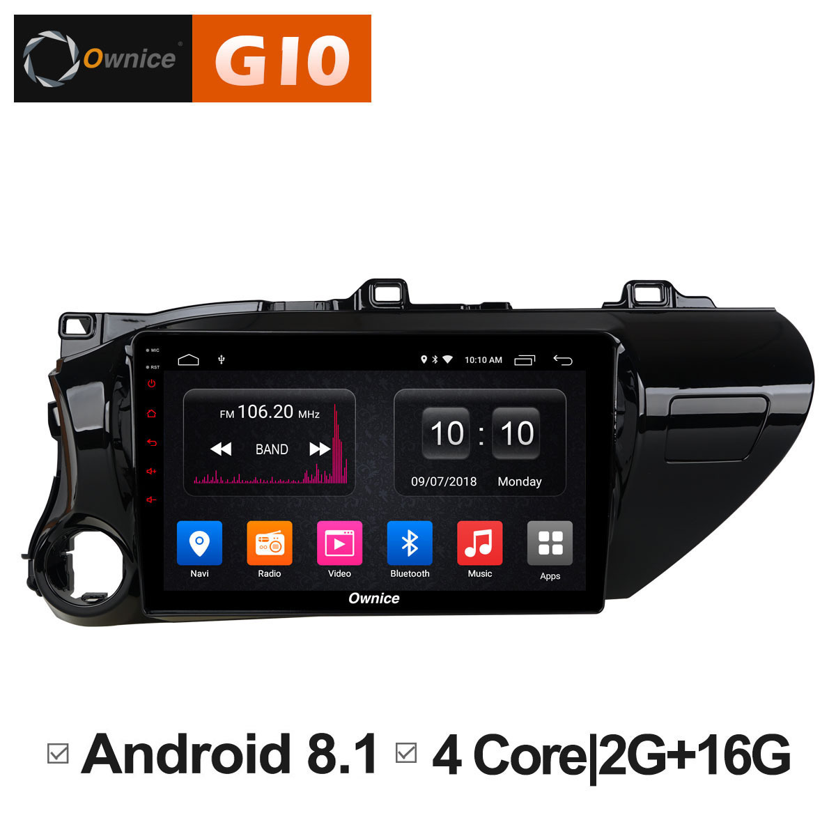 10.1 Inch Android 8.1 Unit For TOYOTA Hilux 2016 2017 2018 Car DVD Video Radio PLAYER Multimedia Navigation GPS AUDIO Stereo PC