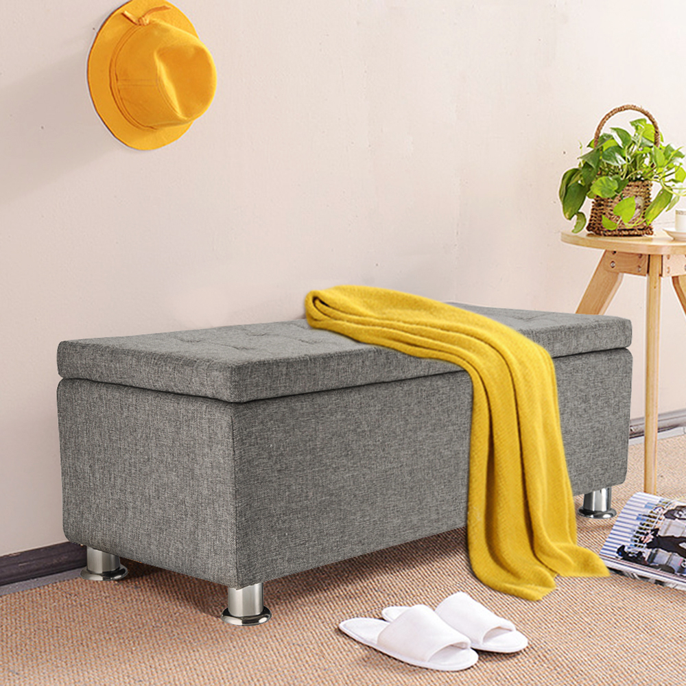 Chenille Ottoman Storage Bench Box Tufted Buttons Chrome Legs Living ...