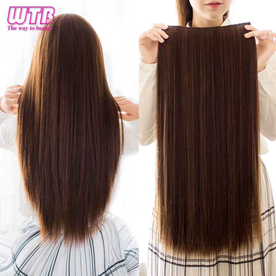 WTB  5 Clips/piece Long Straight Hair Extension 24 Inch  Long High Temperatrue Synthetic  Fake Hair for Women