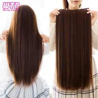 WTB 5 Clips/stück Lange Gerade Haar Verlängerung 24 Zoll Lange Hohe Tempera Synthetische Gefälschte Haar für Frauen