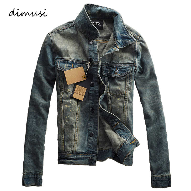 DIMUSI осень-зима Мужская джинсовая куртка Мода модная рваная джинсовая куртка мужская джинсовая куртка верхняя одежда мужская куртка ковбоя пальто 3XL, TA227