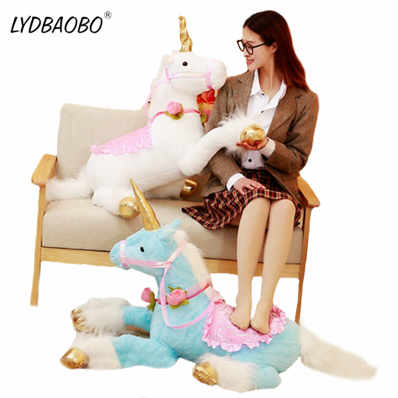 LYDBAOBO 1PC Giant Cute Unicorn Horse Plush Toys Huge Stuffed Animal Pony Doll Photography Props For Kids Creative Birthday Gift doershow african women talian shoes and bag set ladies italian shoe and bag set decorated with rhinestone nigerian party bb1 1