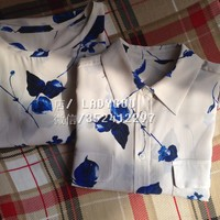 EQ 100 Real Silk Blue Leaf Women Short Sleeve O Neck T Shirt Shirts Equipment Lady