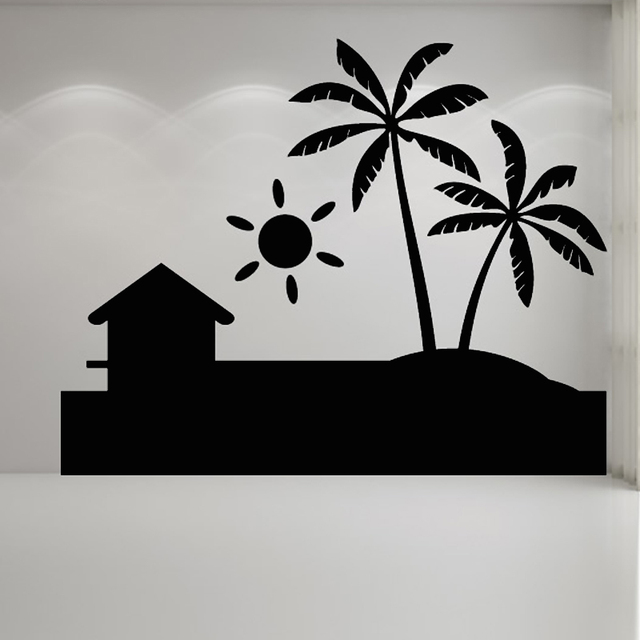 Simple Design Removable Sun Decal Palm Trees Beach Wall Sticker PVC  Waterproof Living Room Home Decor