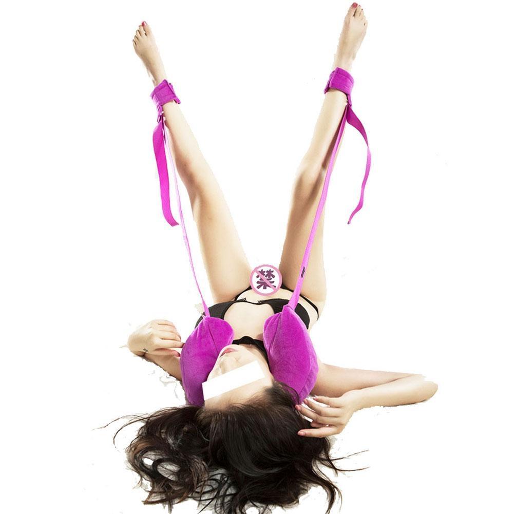 Purple Women Sexy Lingerie Bondage Sex Handcuffs Leg Open Restraints Neck Handcuffs Ankle Cuff Straps Erotic Costume Sex Product
