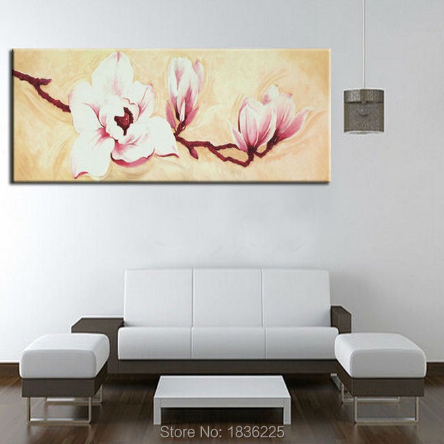 Minimalist Decorative Paintings Metal Art Magnolia Flower Oil Painting  Decoration Flowers Oil Paintings For Bedrooms Wallpaper