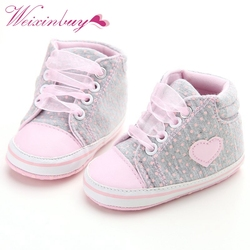 Осенние детские сникеры в горошек с сердечками для новорожденных девочек; классические повседневные туфли для малышей
