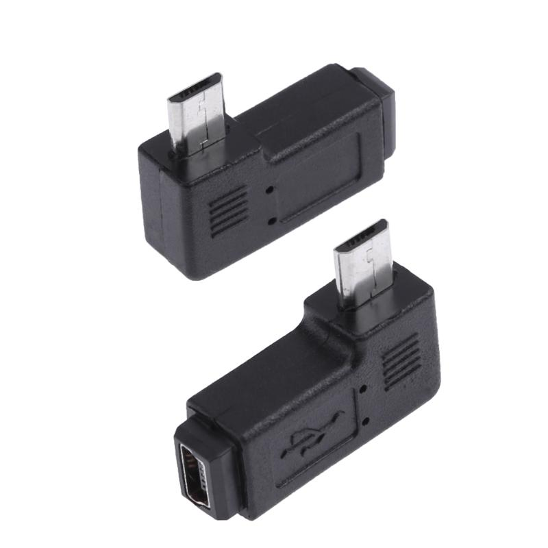 New Promotion 2pcs 90 Degree Mini USB Female to Micro USB Male Adapter Connector Portable Left and Right USB Adapter Set Black 2 pcs set usb 3 0 vertical male to female left angle and right adapters