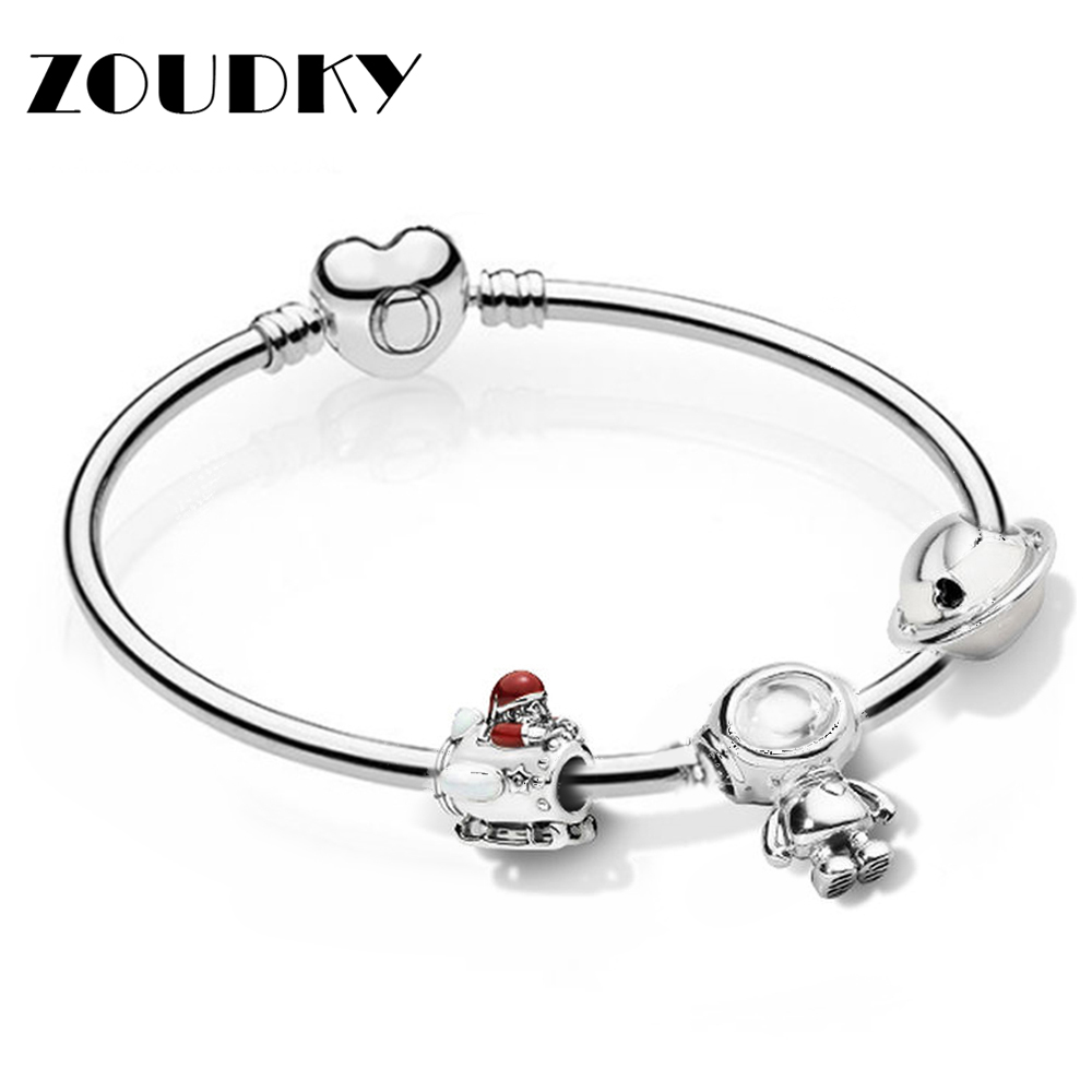 ZOUDKY 100% 925 Sterling Silver Star Christmas Bracelet Set Cosmo Astronaut Charm Planet Of Love Charm Original Fashion JewelryZOUDKY 100% 925 Sterling Silver Star Christmas Bracelet Set Cosmo Astronaut Charm Planet Of Love Charm Original Fashion Jewelry