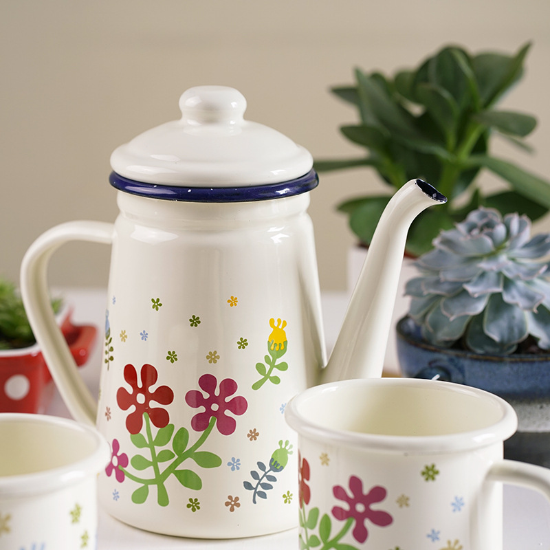 Flower Series 1.1l Enamel Coffee Pot Fine Mouth Hand Pot Teapot Kitchen Oil Pot|Coffee Pots| |  - title=