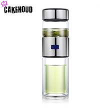 CAKEHOUD New Tea Separation Double Glass Cup Coffee Business Gift Quality Transparent Water Bottle With Filter