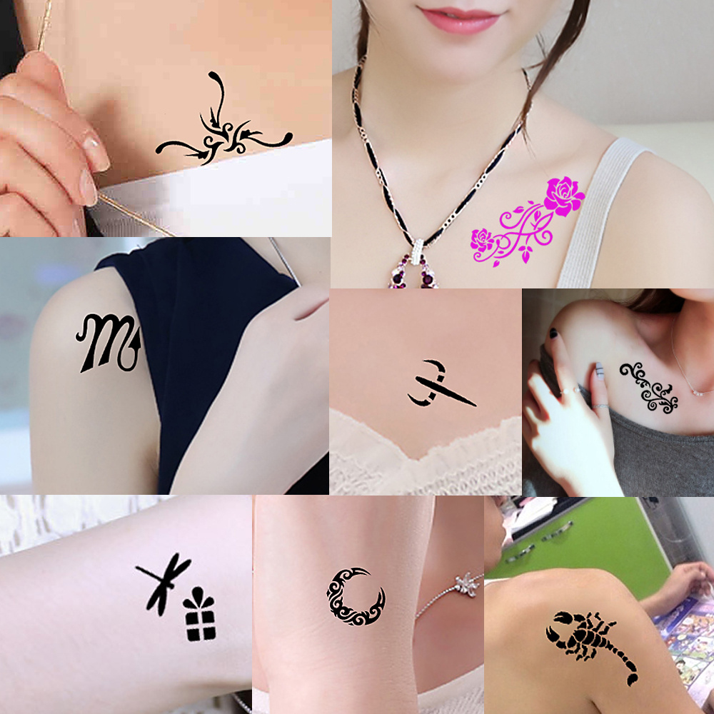 1 Sheet Small Henna Tattoo Indian Stencil Music Play Button Word