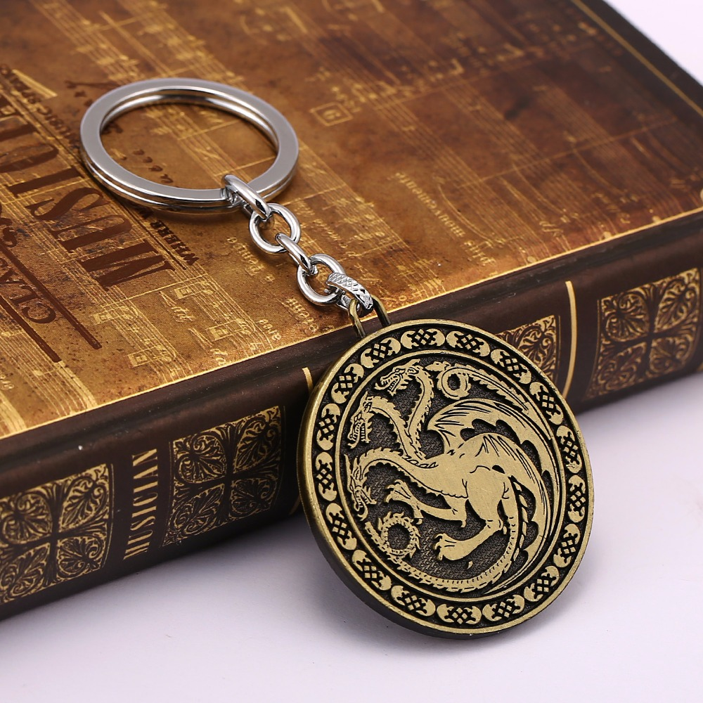 HSIC 10pcs/lot Thrones Keychain Song of Ice and Fire Targaryen Key Ring Chaveiro Car Key Chain Souvenir Game Accessories 11907