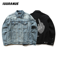 IUURANUS Brand Mens Denim Jean Jacket Black Winter Frayed Craft Anti Social Male Fashion Denim Jacket