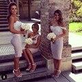 Barato curto vestidos de dama de honra do marfim e renda lilás transporte rápido robe demoiselle d'honneur 2016 maid of honor vestido para o casamento