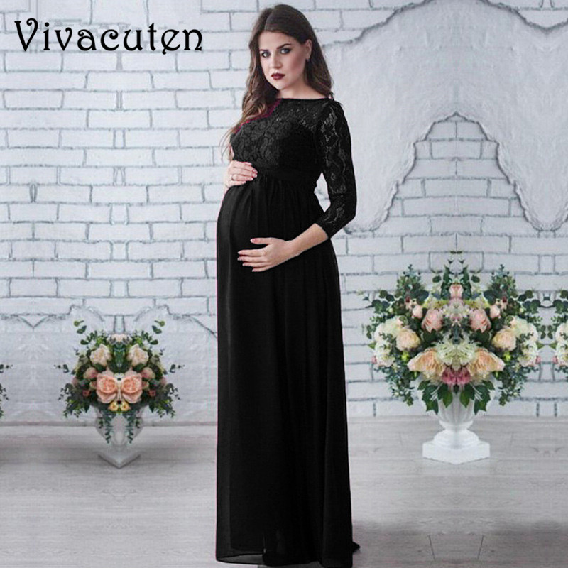 Maternity Lace Dresses Plus Size Pregnancy Dress Gown Chiffon Maternity Photography Props Spring Autumn Women Long Sleeve M52 trendy plus size stretchy letter decorated chiffon dress for women