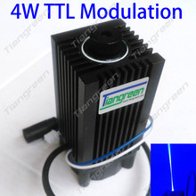 High Power 4W Laser Module TTL 445nm 450nm 4000mW 12V  Adjustable Focus Blue LD DIY Engraver Machine with Safety Goggles