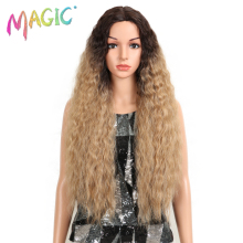 MAGIC Lace Front Synthetic Wigs For Women Middle Part Long 30 Soft Ombre Blonde Wig With Dark Roots Wavy Heat Resistant Fiber